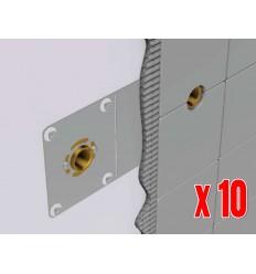 """Pack de 10 Platines / Plaques de Fixation Multicouche HENCOFIX Ø16 F1/2"""" Pour Sortie de Cloison Robinetterie"""