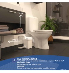 Sanibroyeur W12 PRO de Watermatic - Raccorde 1 WC et 2 Appareils