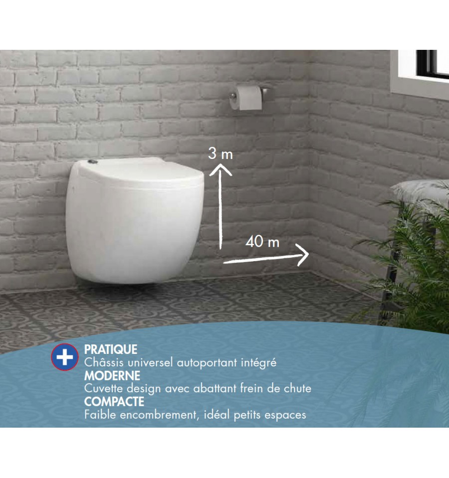Wc Suspendu 4 Pieds w40sp silence watermatic, la cuvette wc suspendue à broyeur