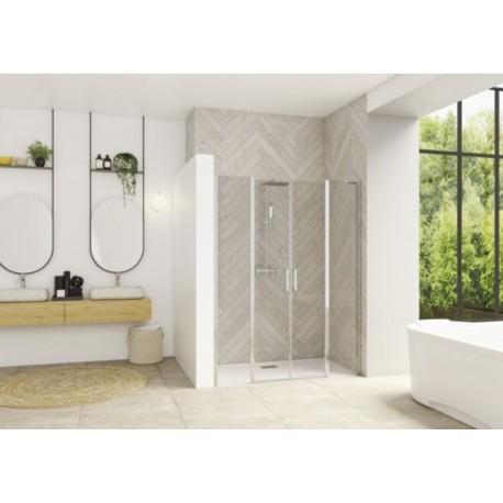 Smart Design 2P XXL Sans Seuil Kinedo - Verre Transparent - Portes de Douche Pivotantes Intérieur / Extérieur