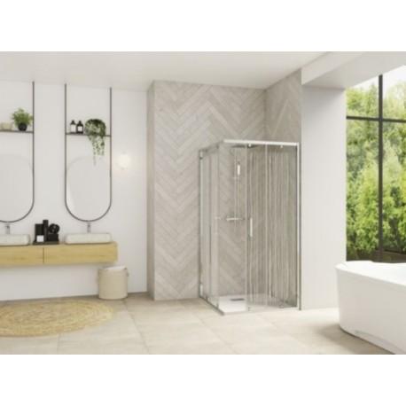Smart Design A/C Kinedo - Paroi Douche d'Angle Transparente et Coulissante