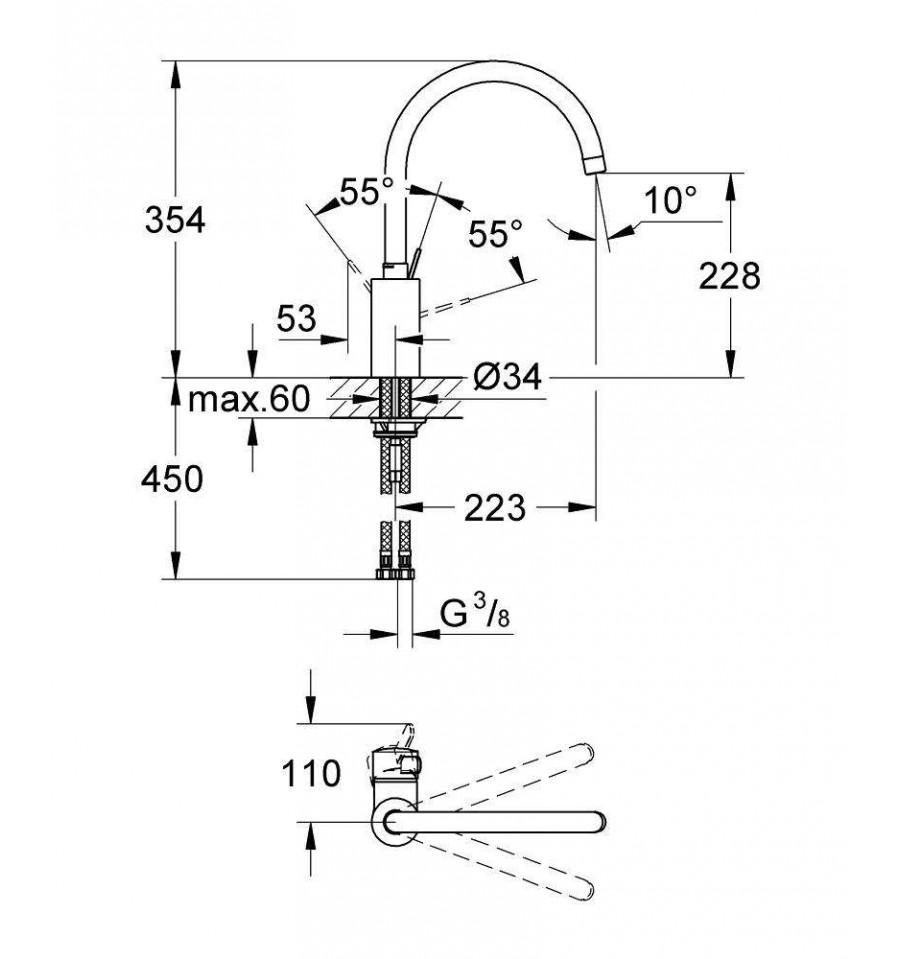 mitigeur vier grohe eurosmart cosmopolitan 32845000 prix pas cher. Black Bedroom Furniture Sets. Home Design Ideas