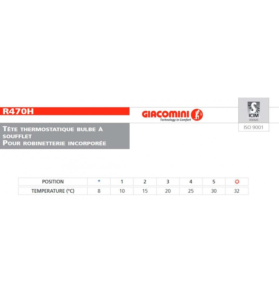 T te robinet thermostatique r470 1 2 de giacomini prix fou - Giacomini robinet thermostatique ...