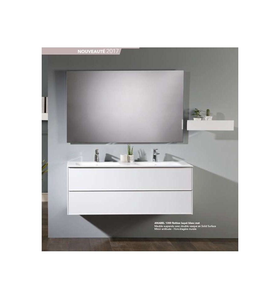 Pack anabel 1500 meuble 2 tiroirs vasque double miroir o 39 design ott - Meuble vasque design ...