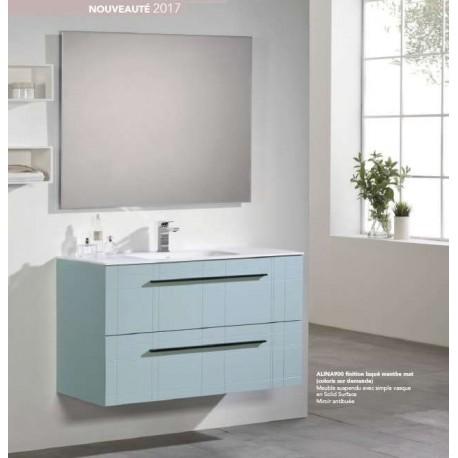 Pack Alina 1100 (Meuble 2 tiroirs + Vasque Simple + Miroir) O'design par Ottofond