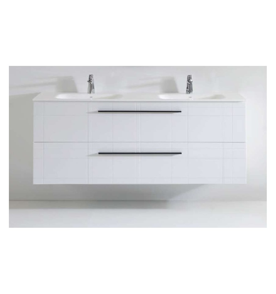 Pack alina 1300 meuble 2 tiroirs vasque double miroir o 39 design ottofond prix mini for Meuble design miroir