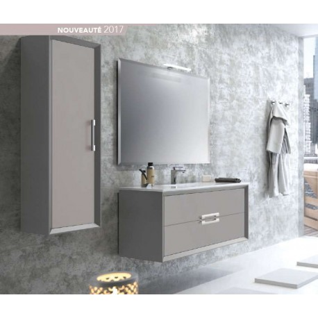Pack Amande 600 (Meuble 2 tiroirs + Vasque Simple + Miroir) O'design par Ottofond