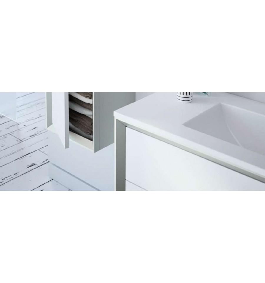 Pack amande 600 meuble 2 tiroirs vasque simple miroir o 39 design ottofond prix mini for Meuble design miroir