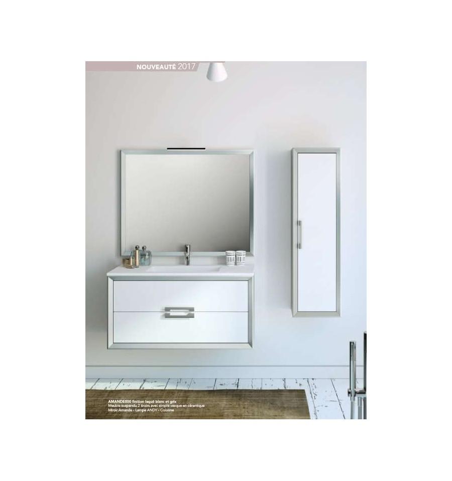 Pack amande 800 meuble 2 tiroirs vasque simple miroir o 39 design ottofond prix mini for Meuble design miroir