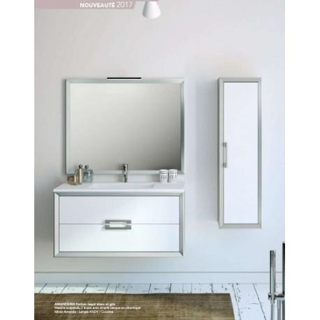 Pack Amande 1000 (Meuble 2 tiroirs + Vasque Simple + Miroir) O'design par Ottofond