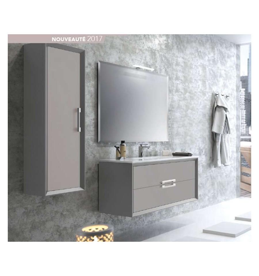 Pack amande 1000 meuble 2 tiroirs vasque simple miroir o 39 design ottofond prix mini for Meuble design miroir