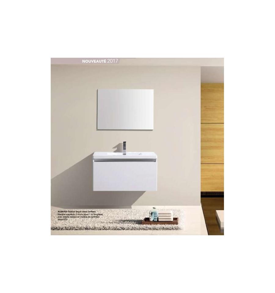 Pack alba 600 meuble 2 tiroirs vasque simple miroir - Meuble mini prix ...