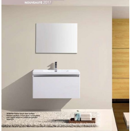 Pack alba 900 meuble 2 tiroirs vasque simple miroir - Meuble mini prix ...