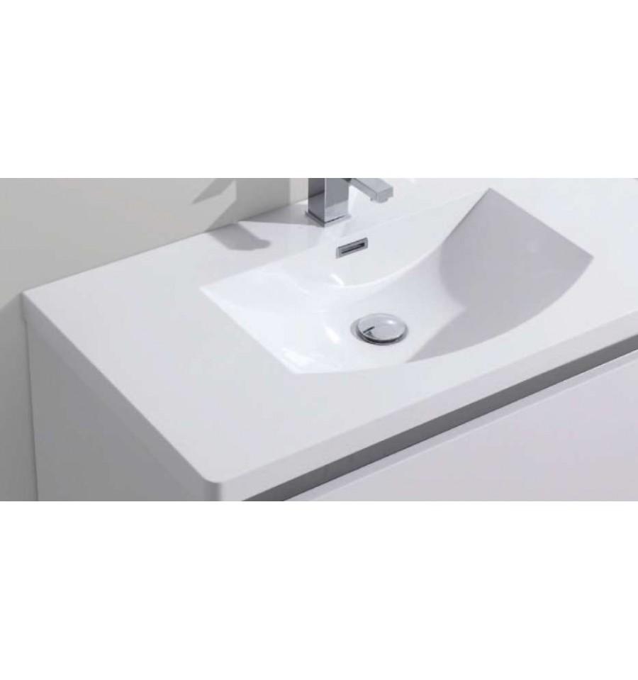 Pack alba 900 meuble 2 tiroirs vasque simple miroir for Meuble vasque design