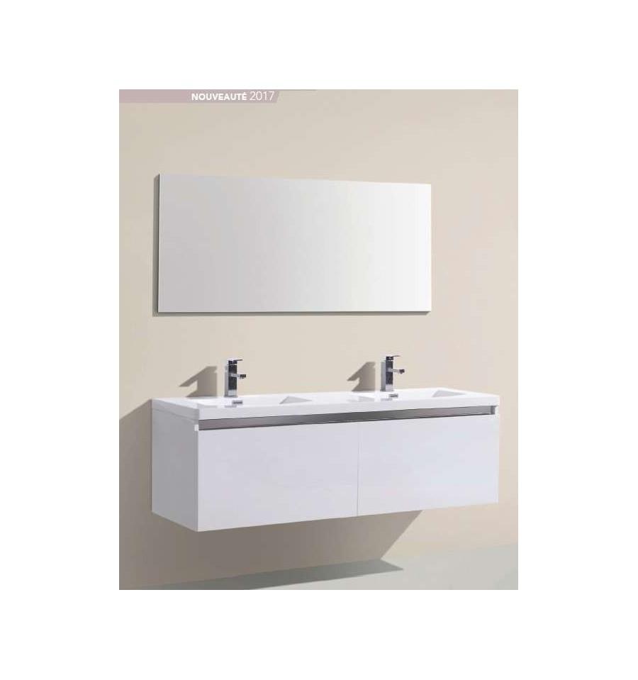 Pack alba 1500 meuble 4 tiroirs vasque double miroir o 39 design ottofond prix mini for Meuble design miroir