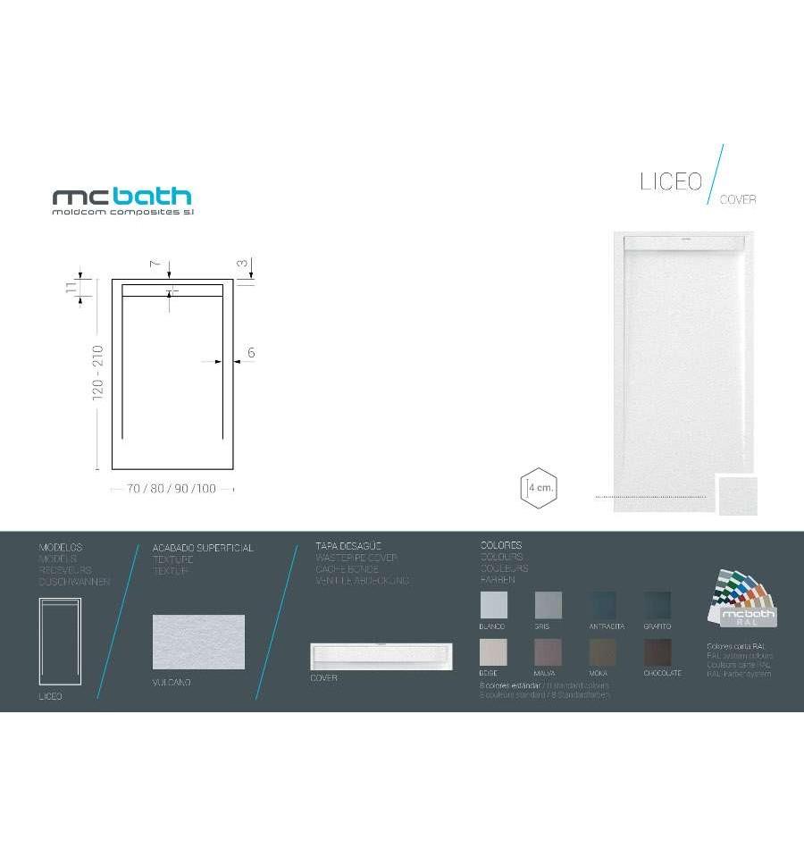 receveur douche sur mesure large 70 cm liceo vulcano mcbath prix pas cher. Black Bedroom Furniture Sets. Home Design Ideas