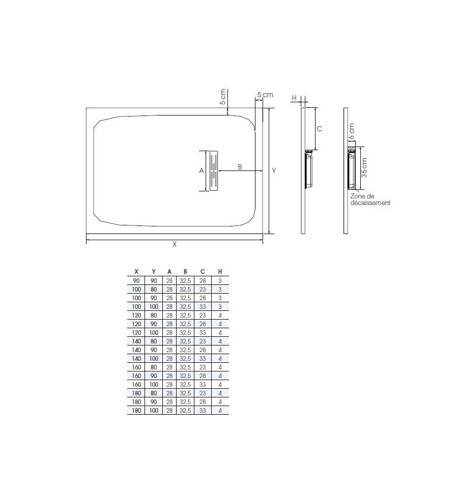 receveur douche kinerock 140x80 par kinedo prix pas cher. Black Bedroom Furniture Sets. Home Design Ideas