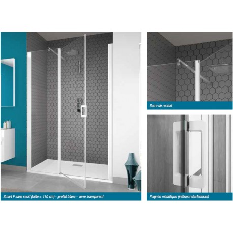 porte de douche smart p sans seuil kinedo 110 x 200 5 cm prix douch ici. Black Bedroom Furniture Sets. Home Design Ideas
