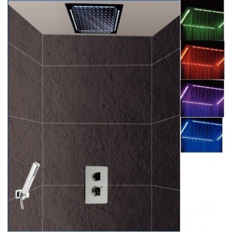 Ensemble de douche Rain Light Quadro Chromo Païni