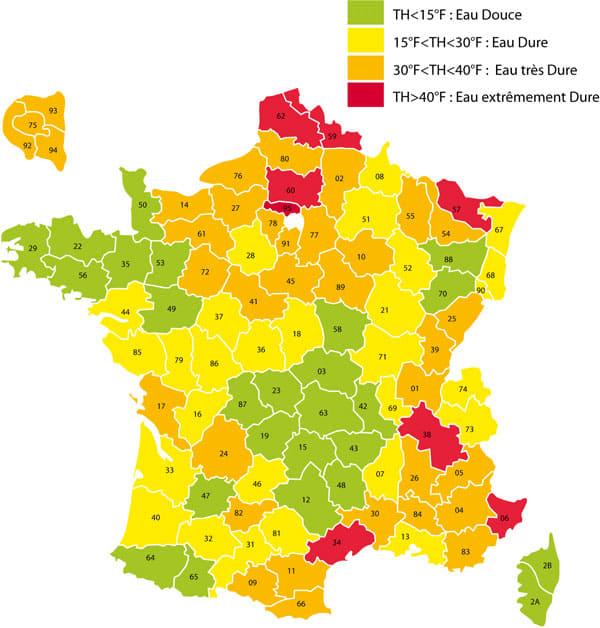 Carte de France - Dureté de l'Eau
